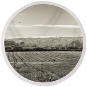 Autumn In The Countryside Bw Round Beach Towel