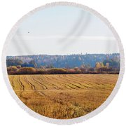 Autumn In The Countryside Round Beach Towel