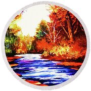 Autumn In The Deep Forest Round Beach Towel