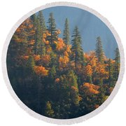 Autumn In The Feather River Canyon Round Beach Towel