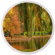 Autumn In The Garden Round Beach Towel