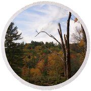 Autumn In The Hills Round Beach Towel by Lois Lepisto