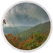 Autumn In The Ilsetal, Harz Round Beach Towel