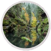 Autumn In The Kamnitz Gorge Round Beach Towel