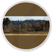 Round Beach Towel featuring the photograph Autumn In The Nisqually Estuary  by I'ina Van Lawick