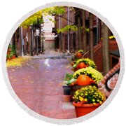 Round Beach Towel featuring the photograph Autumn In The North End by Bruce Carpenter