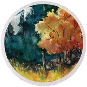 Autumn In The Ozarks Round Beach Towel