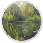 Round Beach Towel featuring the mixed media Autumn In The Park by Angela Stout