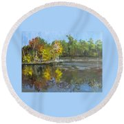 Round Beach Towel featuring the painting Autumn In The Rock Quarry by Jim Phillips