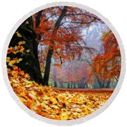 Autumn In The Woodland Round Beach Towel