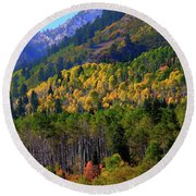 Round Beach Towel featuring the photograph Autumn In Utah by Bryan Carter