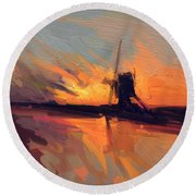Round Beach Towel featuring the painting Autumn Indian Summer Windmill Holland by Nop Briex