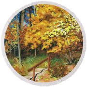 Round Beach Towel featuring the painting Autumn Invitation by Barbara Jewell