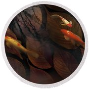 Autumn Koi Round Beach Towel