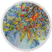 Round Beach Towel featuring the painting Autumn Lace by Joanne Smoley