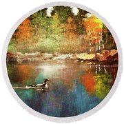 Autumn Lake Reflections Round Beach Towel