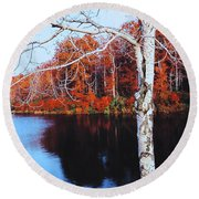 Autumn Lake Round Beach Towel