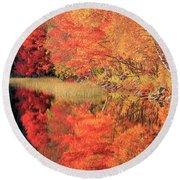Autumn Lake Scenery Round Beach Towel