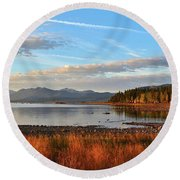 Autumn Lake Tahoe Round Beach Towel