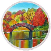 Autumn Landscape -colors Of Fall Round Beach Towel