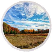 Round Beach Towel featuring the photograph Autumn Landscape by Nikki McInnes