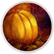 Round Beach Towel featuring the painting Autumn Landscape Painting by Annie Zeno
