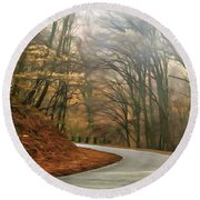 Round Beach Towel featuring the painting Autumn Landscape Painting by Odon Czintos