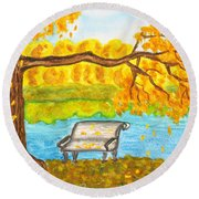 Autumn Landscape With Tree And Bench, Painting Round Beach Towel