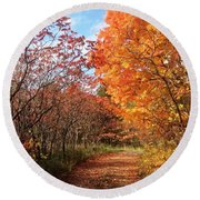 Autumn Lane Round Beach Towel