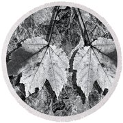 Autumn Leaf Abstract In Black And White Round Beach Towel