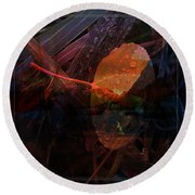 Round Beach Towel featuring the digital art Autumn Leaf by Stuart Turnbull