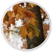 Autumn Leaves 2- By Linda Woods Round Beach Towel
