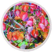 Autumn Leaves And Buds Round Beach Towel