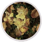 Autumn Leaves Are Falling Down... Round Beach Towel