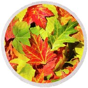 Round Beach Towel featuring the photograph Autumn Leaves by Christina Rollo