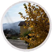 Autumn Leaves Round Beach Towel by Judy Kirouac