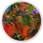 Round Beach Towel featuring the digital art Autumn Leaves by Klara Acel