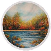 Autumn Leaves Round Beach Towel by Natalie Holland