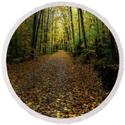 Round Beach Towel featuring the photograph Autumn Leaves On The Trail by David Patterson