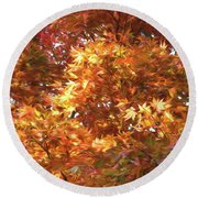 Round Beach Towel featuring the photograph Autumn Leaves Painted by Judy Wolinsky
