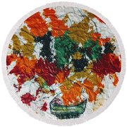Autumn Leaves Plant Round Beach Towel