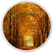 Autumn Light And Leaf Painting Round Beach Towel