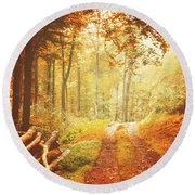 Autumn Lights Round Beach Towel