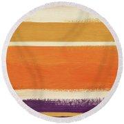 Autumn Lines Vertical- Art By Linda Woods Round Beach Towel