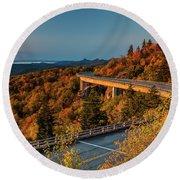 Morning Sun Light - Autumn Linn Cove Viaduct Fall Foliage Round Beach Towel