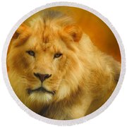 Autumn Lion Round Beach Towel by Suzanne Handel