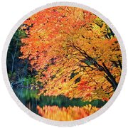 Autumn Magic Round Beach Towel