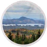 Autumn Maine Landscape Round Beach Towel