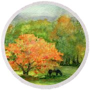 Autumn Maple With Horses Grazing Round Beach Towel
