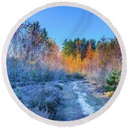 Autumn Meets Winter Round Beach Towel
